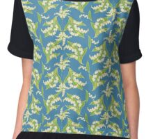Elegant Lily-of-the-Valley Floral Pattern on Blue Chiffon Top