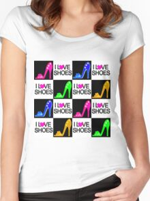 COLORFUL I LOVE SHOES DESIGN Women's Fitted Scoop T-Shirt