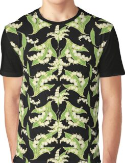 Elegant Lily-of-the-Valley Floral Pattern on Black Graphic T-Shirt