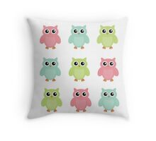 Colourfull Owls Throw Pillow