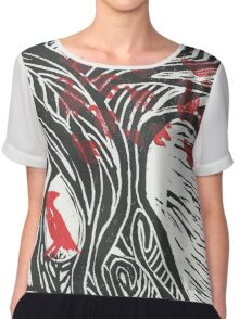 Wisdom of Trees - Red Raven Chiffon Top