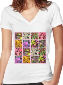 COLORFUL WILD FLOWER PHOTO COLLAGE Women's Fitted V-Neck T-Shirt