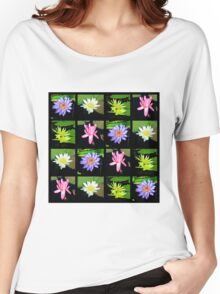 COLORFUL WATER LILY PHOTO COLLAGE Women's Relaxed Fit T-Shirt