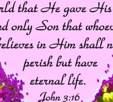 INSPIRING JOHN 3:16 FLORAL DESIGN Sticker