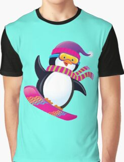Cute Penguin Snowboarding Graphic T-Shirt