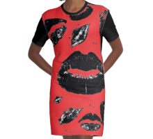 Kisses All Over (Black & Red) Graphic T-Shirt Dress