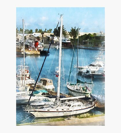 Boats at King's Wharf Bermuda Photographic Print
