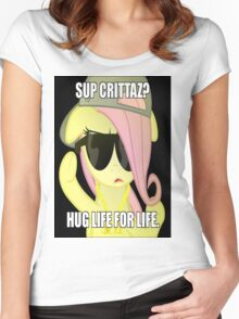 Hug Life - Fluttershy Women's Fitted Scoop T-Shirt