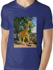 Athletic Giraffe Mens V-Neck T-Shirt