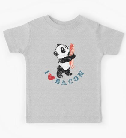 I Love Bacon - Panda Kids Tee
