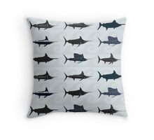 Marlin Billfish Print Throw Pillow - Blue Throw Pillow