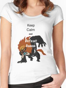 Keep calm & defeat Ganon Women's Fitted Scoop T-Shirt