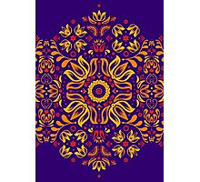 Fiery Floral Folk Pattern Photographic Print
