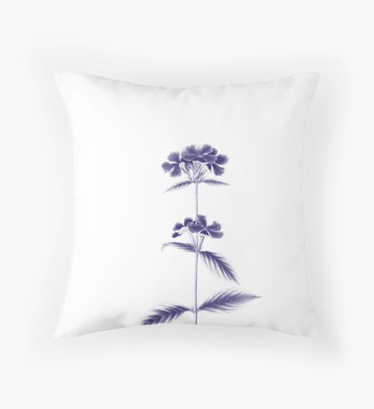 Sketched flowers on white Throw Pillow