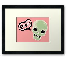 cute skull saying booo! Framed Print