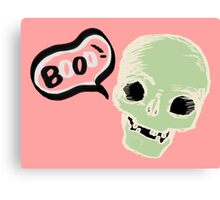 cute skull saying booo! Canvas Print