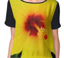 Tropical Flower - Yellow Hibiscus Chiffon Top