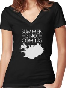 Summer is NOT coming - iceland(white text) Women's Fitted V-Neck T-Shirt