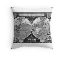 Detailed world map print Throw Pillow