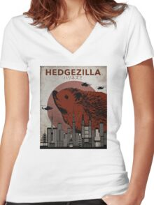 Rare Hedgezilla movie poster. Women's Fitted V-Neck T-Shirt