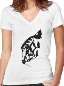 Inkblot Tiger Women's Fitted V-Neck T-Shirt