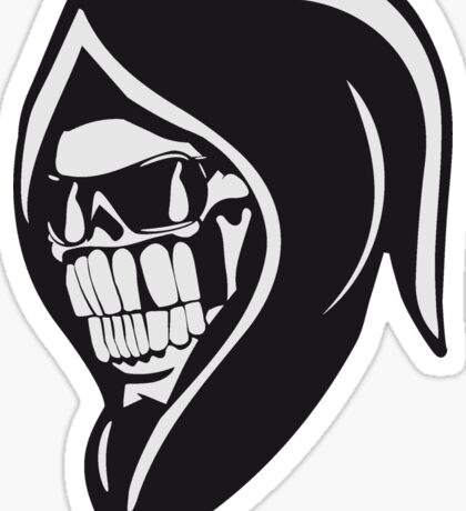 Death hooded sweatshirt angry sunglasses Sticker