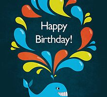 Happy Cartoon Whale Birthday Card by Boriana Giormova