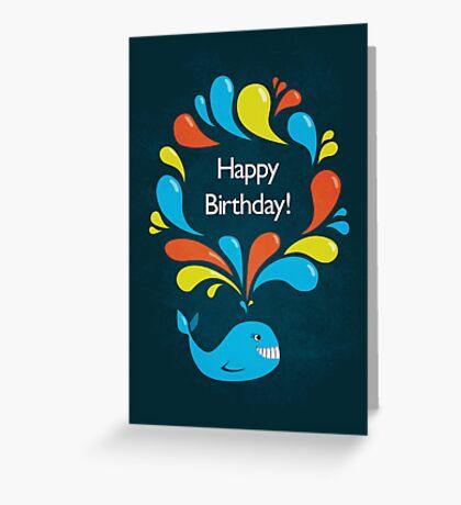 Happy Cartoon Whale Birthday Card Greeting Card
