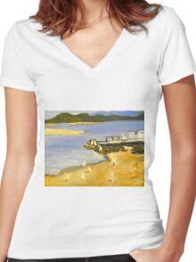 Peligans on the Shore Women's Fitted V-Neck T-Shirt