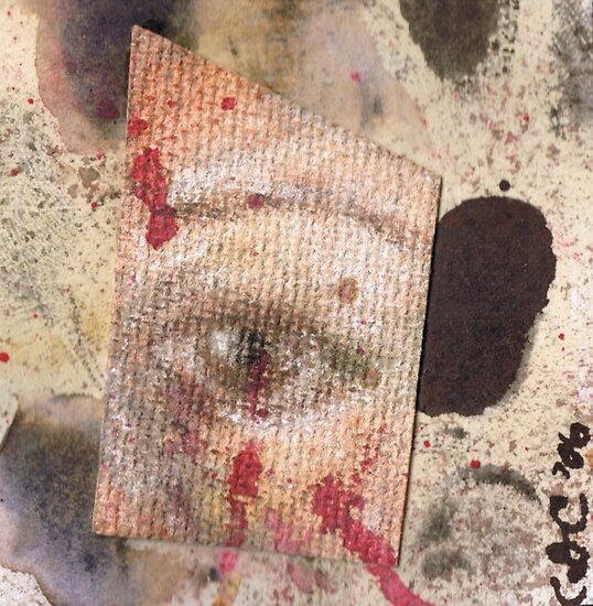 Suspicion - watercolour, ink and pastel mixed media collage  by CDCcreative
