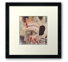 Suspicion - watercolour, ink and pastel mixed media collage  Framed Print