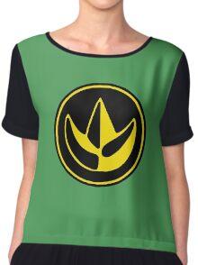 Mighty Morphin Power Rangers Green Ranger Symbol Chiffon Top