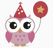 Cute, pink party owl with balloon sticker by MheaDesign