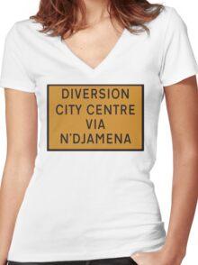 UK Diversion sign City Centre via N'Djamena.   Women's Fitted V-Neck T-Shirt