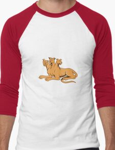 Cerberus Multi-headed Dog Hellhound Sitting Cartoon Men's Baseball ¾ T-Shirt