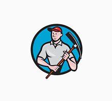 Construction Worker Pickaxe Circle Cartoon Classic T-Shirt