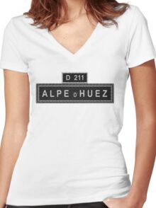 Alpe D'Huez Street Sign Cycling Women's Fitted V-Neck T-Shirt
