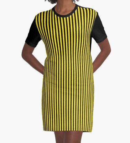 Vertical Stripes Yellow Black and Red Graphic T-Shirt Dress