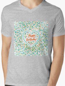 Happy birthday Card Heart and confetti  Mens V-Neck T-Shirt