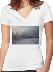 Clearing Snowstorm Women's Fitted V-Neck T-Shirt