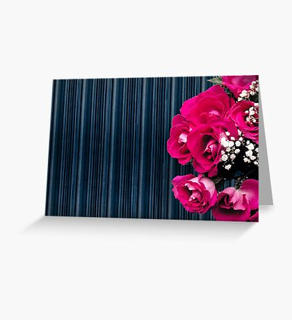 bouquet of pink roses on a striped background Greeting Card