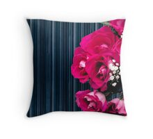 bouquet of pink roses on a striped background Throw Pillow