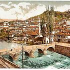 A digital painting of  Sarajcvo (Sarajevo), looking towards Alifakovak, Bosnia, Austro-Hungarian Empire 19th century by Dennis Melling