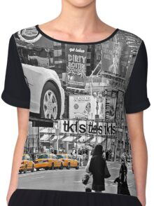 NYC Yellow Cabs Times Square Chiffon Top