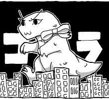 Cute Godzilla Smashes Tiny Tokyo by sbone