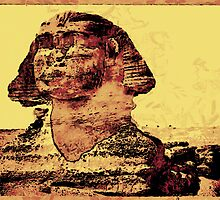 A digital painting of the Great Sphinx of Gaza. by Dennis Melling
