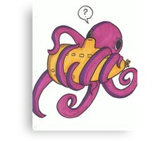 Octopi and submarine Canvas Print