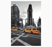 NYC Yellow Cabs Flat Iron Building Kids Tee