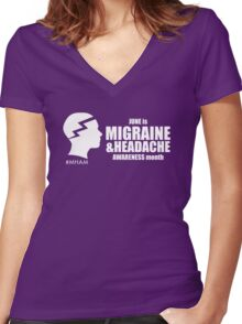 Migraine and Headache Awareness Month Design 1 Women's Fitted V-Neck T-Shirt