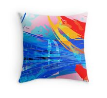 Blue Subway Background Throw Pillow